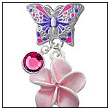 Plumeria Flower Butterfly Charm Bead