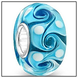 Turquoise Glass Swirl Bead