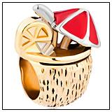 Umbrella Coconut Drink Charm Bead