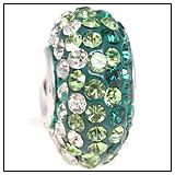 Green Teal White Swarovski Charm Bead