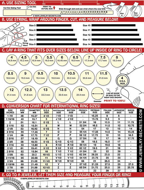 Finger Ring Sizer Chart