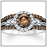 Kay Jewelers Chocolate Diamonds Ring 3/4 ct tw Round Cut 14K Vanilla Gold Engagement Ring