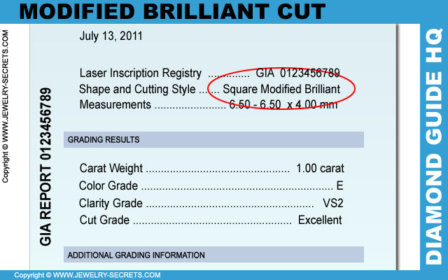 Modified Brilliant Cut Diamond Certificate