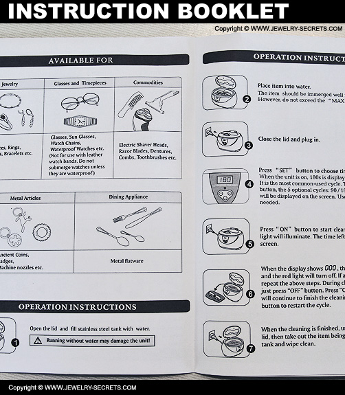 Ultrasonic Jewelry Cleaner Instruction Booklet