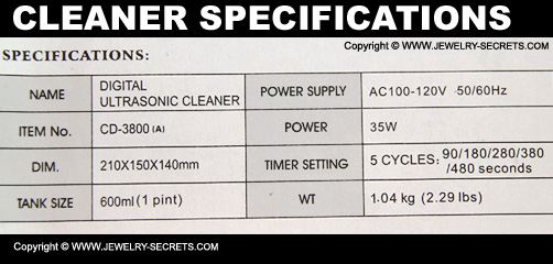 Ultrasonic Jewelry Cleaner Specifications