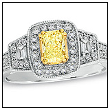 Zales Cushion Cut Yellow Diamond Ring!